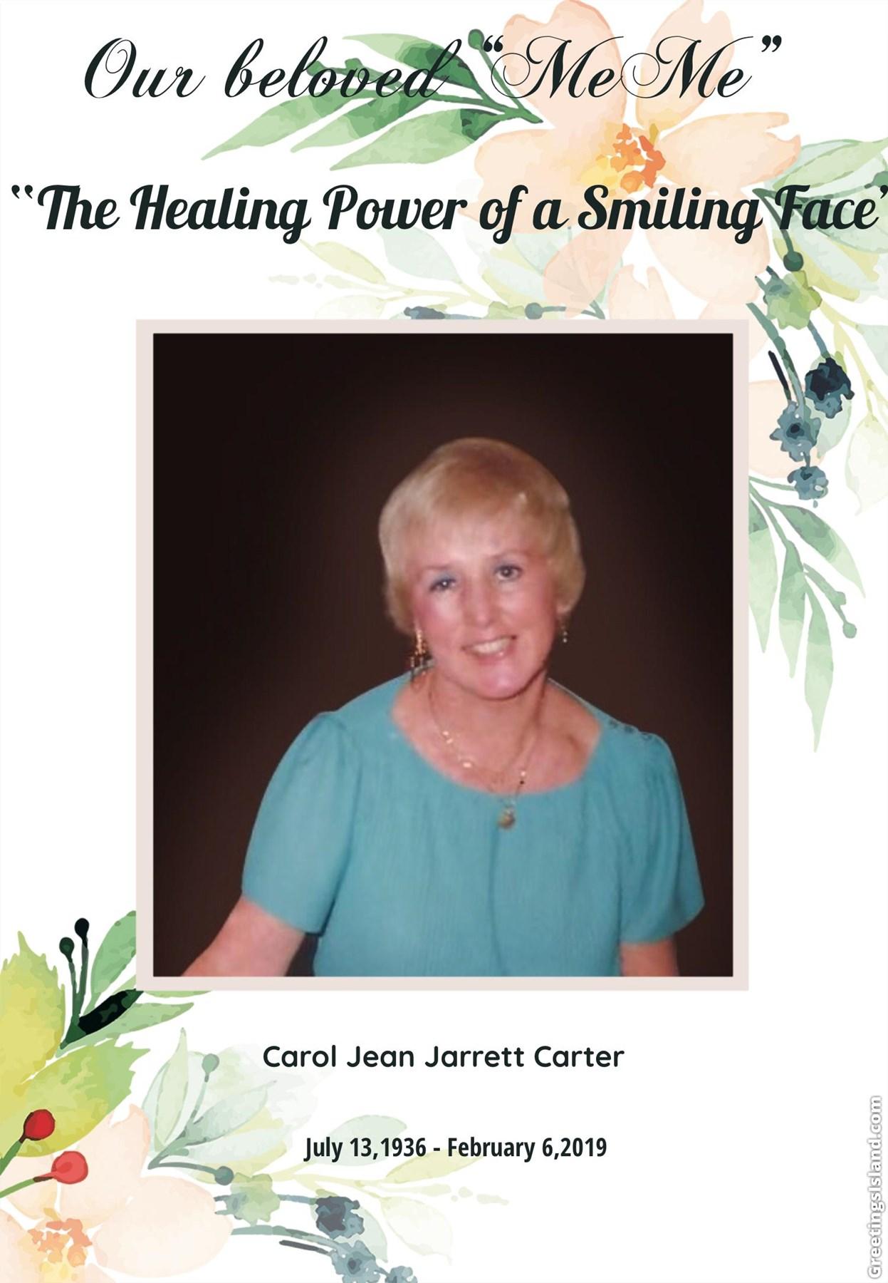 Carol Jean Jarrett Carter Obituary Saint Albans Wv